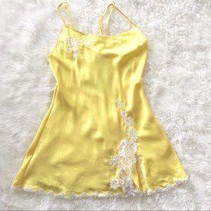 Victoria's Secret yellow satin chemise nightie